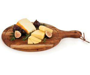 Kerek rusztikus sajtszeletelő deszka