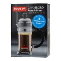 Bodum Chambord French Press műanyag főzőpohárral 4 csészéhez 500 ml króm