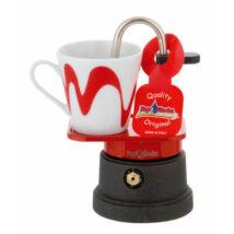 Mokka mini kotyogós kávéfőző teflon 1 csészéhez piros