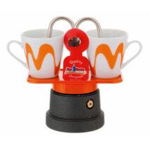 Mokka mini kotyogós kávéfőző teflon 2 csészéhez narancs