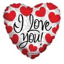 45 cm-es I love you piros szíves fólia lufi