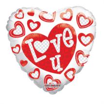45 cm-es Love you gellibean szív fólia lufi piros szívekkel