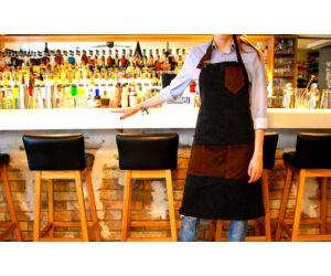 Farmer Báros, barista sötétkék kötény barna szövet betéttel