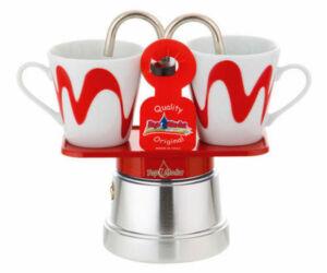 Mokka mini kotyogós kávéfőző 2 csészéhez piros