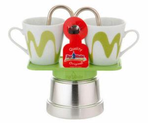 Mokka mini kotyogós kávéfőző 2 csészéhez zöld