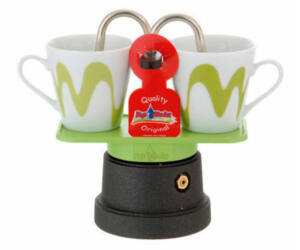 Mokka mini kotyogós kávéfőző teflon 2 csészéhez zöld
