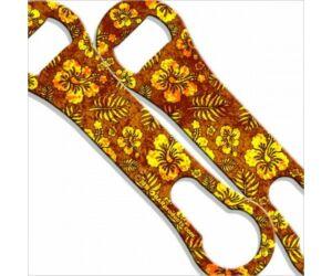 Flair nyitó metal pour kiszedővel Hawaiian Floral Pattern grunge sárga