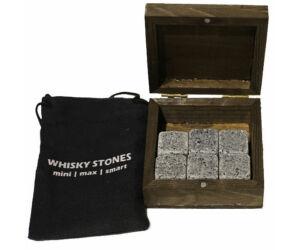 Whisky hűtő gránitkocka zsákkal fadobozban 6db