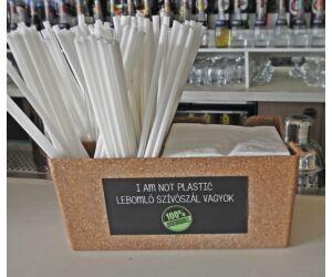 Lebomló pla szívószál csomag zöld szalvétával, ajándék bar organizerrel