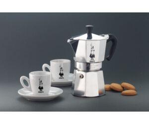 Bialetti kotyogós alumínium 3 személyes kávéfőző szett 2 csészével dobozban