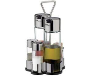 Komplett asztali patika 5 részes. Ecet, olaj, só, bors, fogvájó tartó.