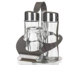 Három részes só, bors szóró fogvájó tartóval.