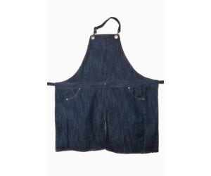 Kék farmer barista, báros kötény pántos A4