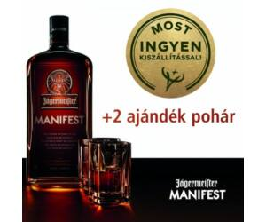 Jägermeister Manifest + 2 ajándék pohár 1L 38%