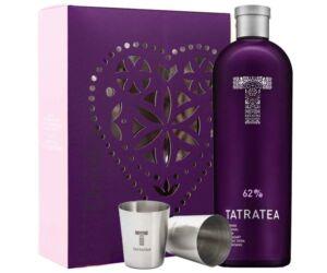"""Tatratea """"lila"""" erdei gyümölcsös tea likőr 62% pdd. + 2 fém pohár"""