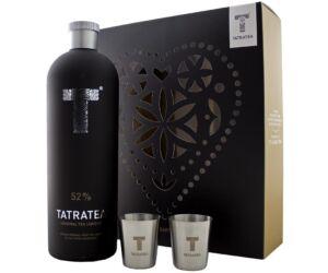 """Tatratea """"fekete"""" eredeti tea likőr 52% pdd. + 2 fém pohár"""
