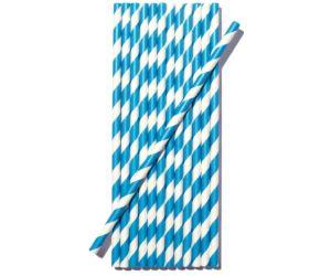 Ecohills kétszínű papír szívószál kék-fehér 100db/cs
