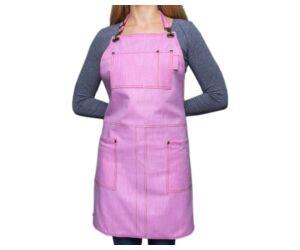 Farmer barista, báros kötény pántos pink