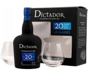 Dictador 20 years 0,7L 40% pdd.+ 2 pohár
