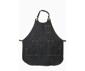 Fekete farmer barista, báros kötény pántos zsebbel A5