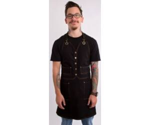 Fekete farmer barista, báros kötény pántos gombos zsebekkel C1