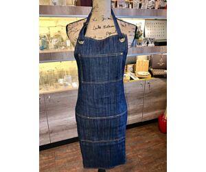 Kék farmer barista, báros kötény pántos A3