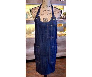 Kék farmer barista, báros kötény pántos zsebbel A5