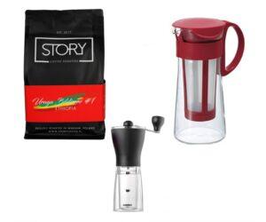 Kedvezményes Kávés csomag Hario Mizudashi kávé készítővel és kávédarálóval