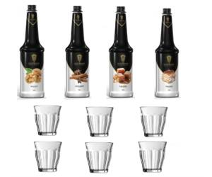 Kedvezményes kávés szirup csomag 6 db ajándék retro kávés pohárral