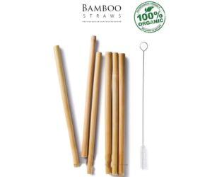 Bambusz Szívószál 6 db / csomag + tisztító kefe