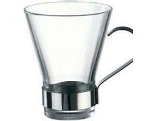Bormioli üveg mokkás csésze fém füllel 3db/szett