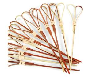 Szív alakú bambusz koktélnyárs 120mm 100db/cs piros