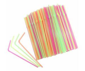 Hajlitható neon szívószál 100db/cs