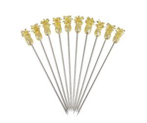Fém koktélnyárs arany színű ananász véggel 10db/cs