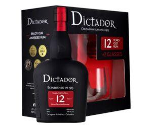 Dictador 12 years 0,7L 40% pdd.+ 2 pohár