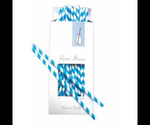 Kékcsíkos papír szívószál 100db/cs