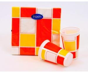 Narancssárga - fehér kockás pohár 200 ml 10 db/cs