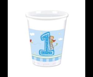 Első születésnapra műanyag pohár fiúknak 200 ml, 8 db/cs