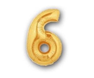 36 cm-es arany szám fólia lufi 6-os