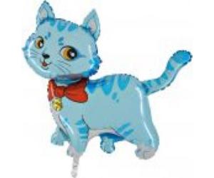 Mini cica masnival kék fólia lufi
