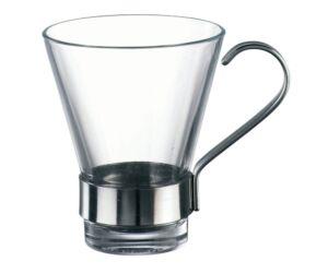 Bormioli üveg cappuccinós csésze fém füllel 3 db/szett