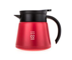 Hario szigetelt duplafalú rozsdamentes acél kávés kancsó V60-02 piros 600ml