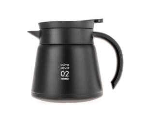 Hario szigetelt duplafalú rozsdamentes acél kávés kancsó V60-02 fekete 600ml
