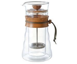 Hario Cafe French Press Duplafalú üveg olívafa 600ml