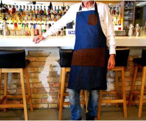 Farmer Báros, barista kötény barna szövet betéttel