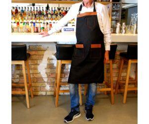 Farmer Báros, barista kötény barna bőr betéttel