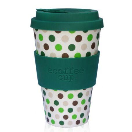 Ecoffee Cup hordozható kávéspohár- Green Polka 400ml