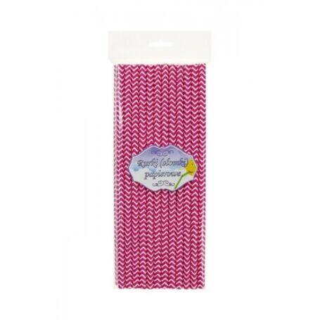 Pink hullámos papírszívószál 24 db/cs 6 x 197 mm