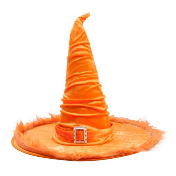 Narancssárga bársony boszorkány kalap