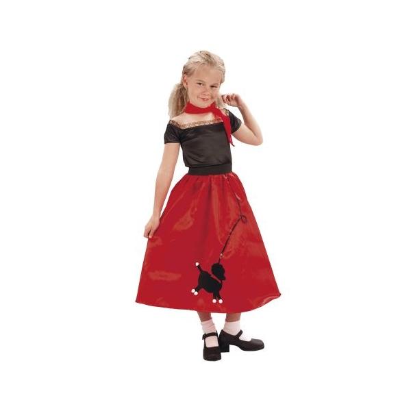 Piros-fekete ruha kutyával jelmez 7-9 éves lányoknak